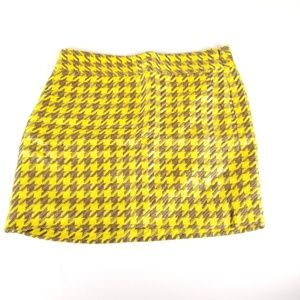 The Limited Yellow & Brown Lined Mini Skirt
